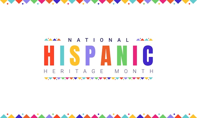 National hispanic heritage month horizontal banner template with colorful text and flags on white background. influence of latin american heritage on a world culture.