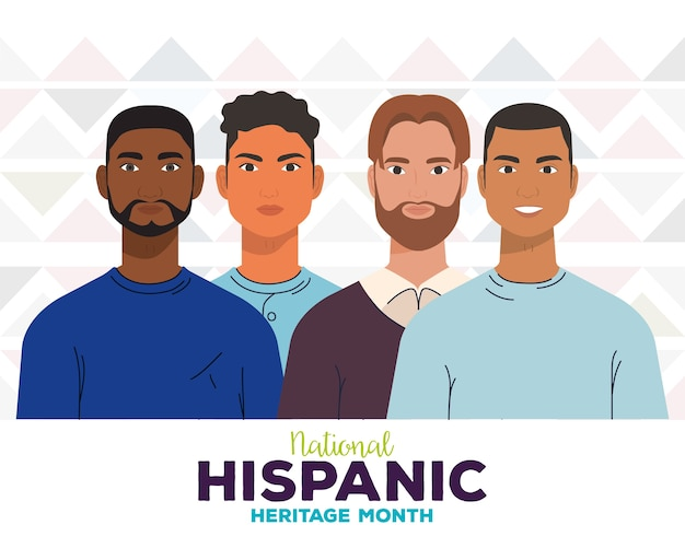 National hispanic heritage month, with group of men, diversity and multiculturalism concept.