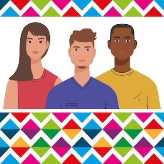 사람들의 그룹, 다양성 및 다문화주의 개념과 함께 국가 히스패닉 유산의 달.