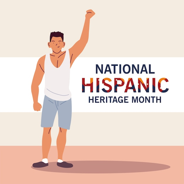 National hispanic heritage month with latin man cartoons, culture and diversity theme illustration