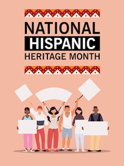 National hispanic heritage month with latin men and women with banners boards, culture and diversity theme illustration