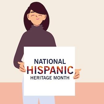 라틴 여자 만화, 문화 및 다양성 테마 일러스트와 함께 국가 히스패닉 문화 유산의 달