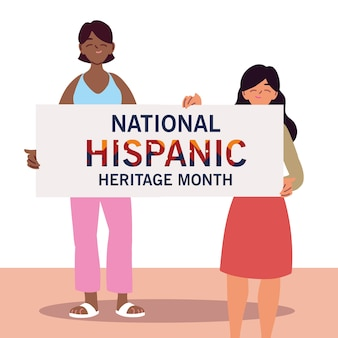 National hispanic heritage month with latin women cartoons, culture and diversity theme illustration