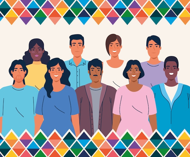 National hispanic heritage month, with multiethnic group of people together