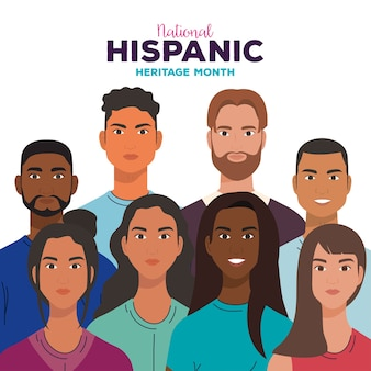 National hispanic heritage month, with women and men together, diversity and multiculturalism concept.