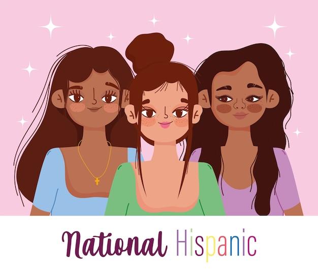 Месяц национального латиноамериканского наследия, женский мультфильм, праздник национальной североамериканской страны
