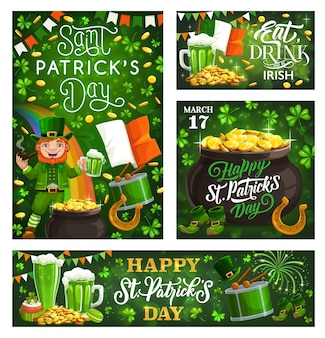 National holiday of ireland saint patricks day lettering greetings and symbols of fest