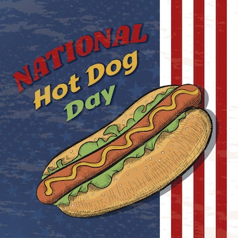 National hot dog day vector poster in vintage style