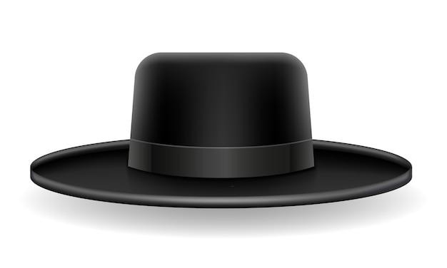 白い背景で隔離の国民のユダヤ人の黒い帽子のイラスト