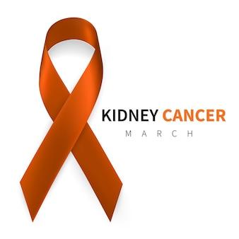 National kidney cancer awareness month. realistic orange ribbon symbol.