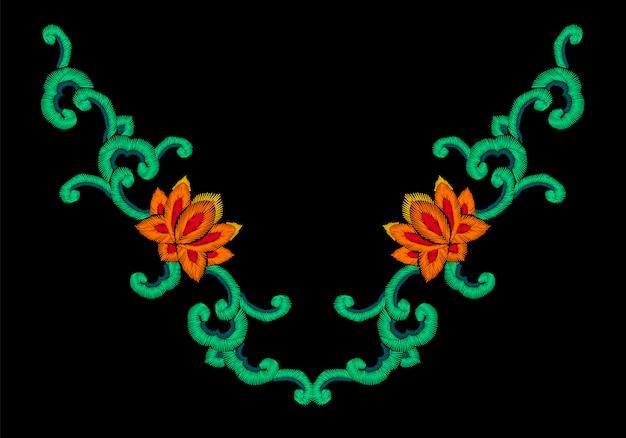National korean oriental embroidery imitation ornament, lotus