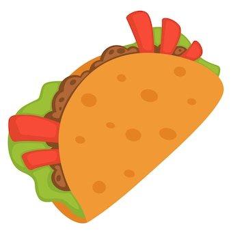 National mexican cuisine, street food dish wrapped in bun. isolated icon of burrito or taco with meat, salad leave and pepper or tomato sticks. authentic meal of mexico. vector in flat style