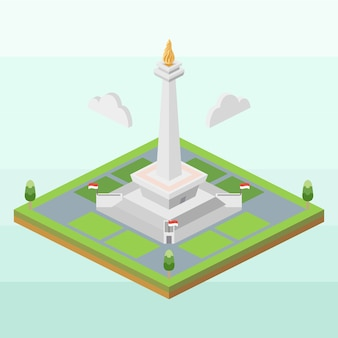 National monument of indonesia in isometric