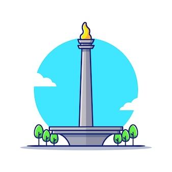 Национальный монумент монас мультфильм значок иллюстрации. известное здание путешествия значок концепции изолированы. плоский мультяшном стиле