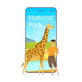 National park cartoon smartphone app screen. conservation in africa. mobile phone displays with flat character design  . animal wathcing application telephone cute interface