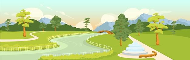 国立公園フラットカラー。タウンエコゾーンのパノラマ。市のレクリエーション公園。アーバングリーンエリア。山、木々、背景に橋と川と通りの2d漫画の風景
