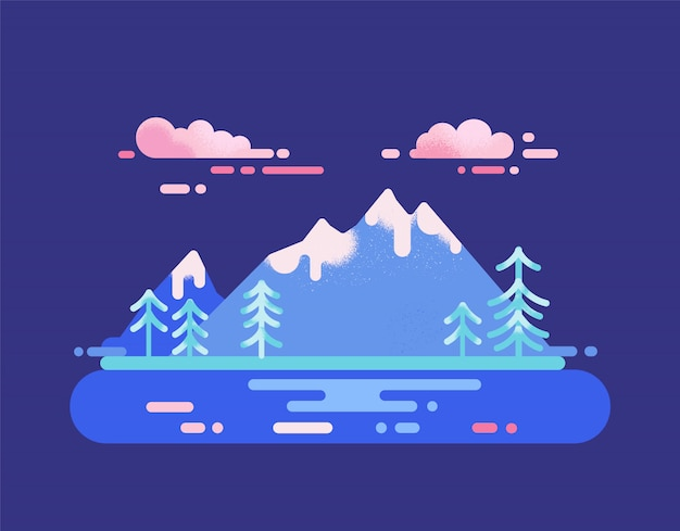 National park landscape. mountain range and lake travel destination concept. vector illustration with wild nature