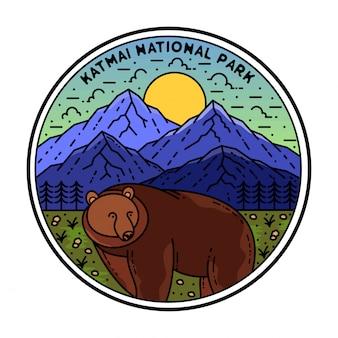 National park monoline badge design