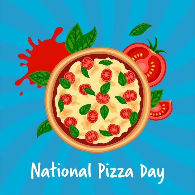 全国ピザ日コンセプト。トマト、チーズ、青の縞模様の背景にバジルと新鮮なおいしいマルゲリータ。フラットイタリアファーストフードイラスト