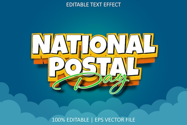 National postal day with cartoon emboss style editable text effect