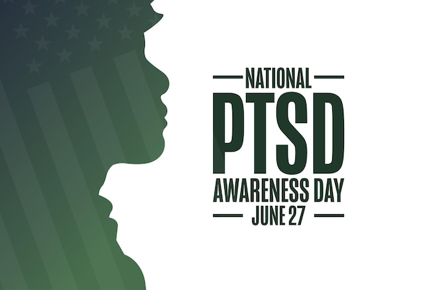 National ptsd awareness day. june 27. holiday concept. template for background, banner, card, poster with text inscription. vector eps10 illustration.