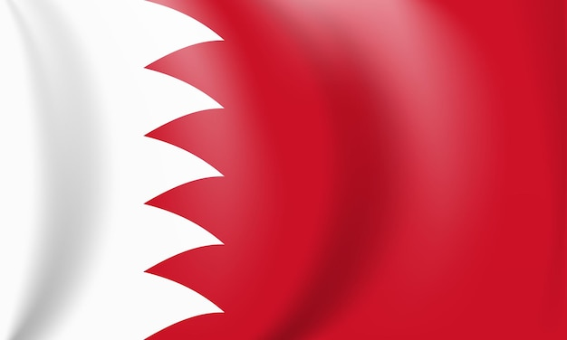 National red and white flag of the kingdom of bahrain waving banner
