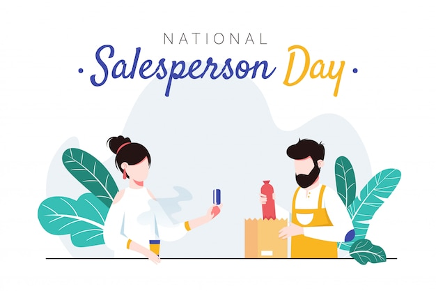 National salesperson day horizontal banner template. man packing sausage into bag for female customer.