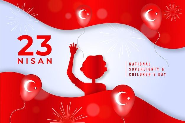 風船で国家主権と子供の日のイラスト