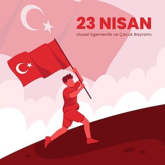 Иллюстрация национального суверенитета и дня защиты детей с мальчиком, держащим флаг