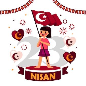 Иллюстрация национального суверенитета и дня защиты детей с девушкой, держащей флаг