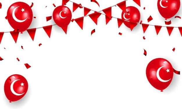国の主権と子供の日。赤い風船紙吹雪デザイン