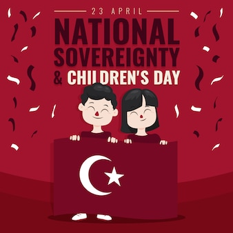 National sovereignty and children's day and confetti
