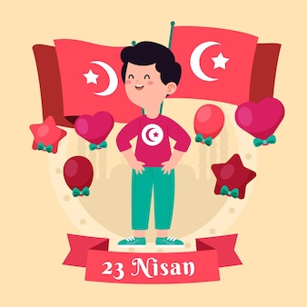 National sovereignty and children's day illustration with boy and flags