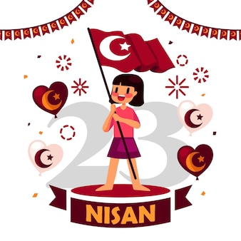 National sovereignty and children's day illustration with girl holding flag