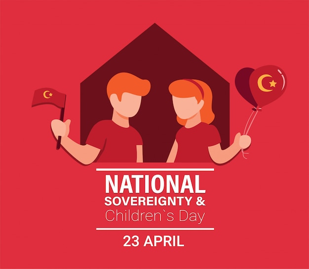 소년과 소녀는 빨간색 배경에 만화 평면 그림에서 깃발과 풍선 장식을 들고 국가 주권의 날