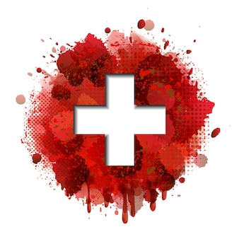 National swiss day card concept. flag of switzerland on background of red paint splashes. vector illustration