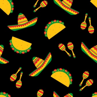 National taco day festive seamless pattern