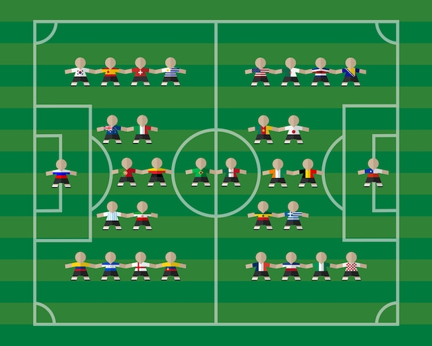 National  team players on soccer field