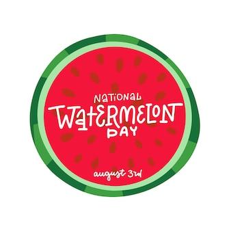 National watermelon day celebration lettering hand drawn illustration Premium Vector