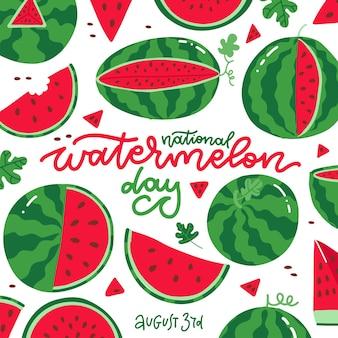흰색 배경에 있는 국립 수박의 날 사각형 카드에는 글자가 있는 많은 신선하고 육즙이 많은 붉은 과일이 있습니다.