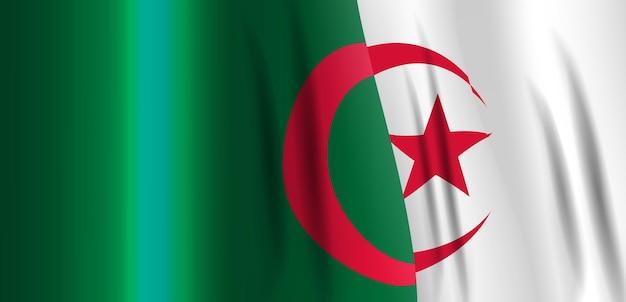 Национальный бело-красный флаг алжирской народно-демократической республики. размахивая знаменем. векторные иллюстрации. eps10
