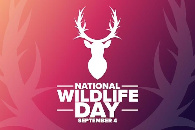 국립 야생 동물의 날. 9월 4일. 휴일 개념입니다. 배경, 배너, 카드, 텍스트 비문이 있는 포스터용 템플릿입니다. 벡터 eps10 그림입니다.