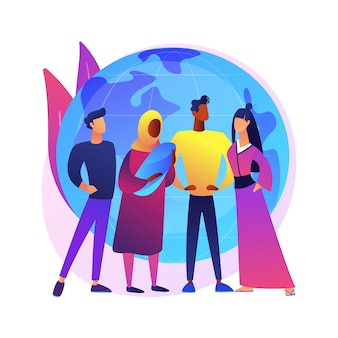 Illustrazione di concetto astratto di nazionalità. paese di nascita, passaporto, usi e costumi nazionali, status giuridico, certificato di nascita, diritti umani e discriminazione.