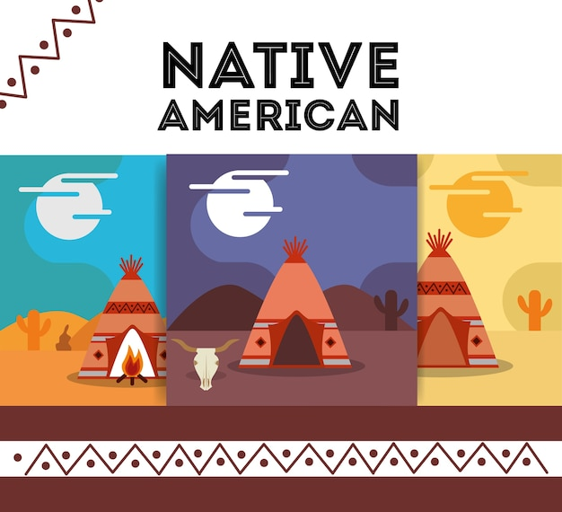 Native american banner teepee traditonal vector illustration