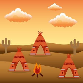 Native american camp teepees bonfire cactus