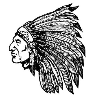 白い背景の上のネイティブアメリカンチーフ。ロゴ、ラベル、看板、ポスター、メニューの要素。図