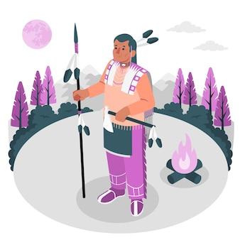 Иллюстрация концепции коренных американцев
