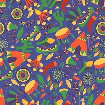 완벽 한 패턴의 아메리카 원주민 문화 아이콘