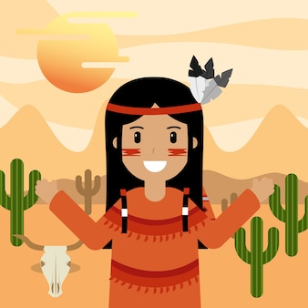 Native american in desert with cactus skull and sun