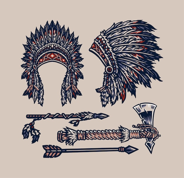 Native american elements, hand drawn line style with digital color